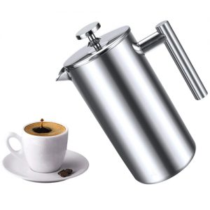 cafetière à piston en acier inoxydable, double paroi isotherme pour café et thé 800L